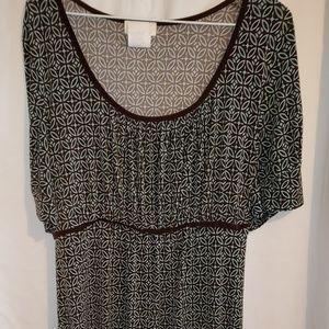 Brown/light teal dress, 1x